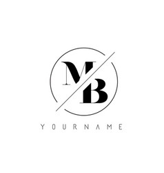 Mb letter logo with cutted and intersected design vector