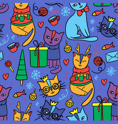 merry christmas cat seamless pattern vector image