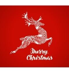 Merry Christmas greeting card Prancing reindeer vector image