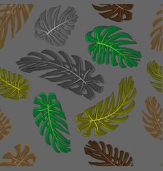 monstera leaves seamless textile pattern set of v vector image