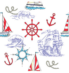 nautical seamless pattern with sailing vesselsand vector image