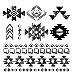Navajo hand drawn print retro Aztec pattern Trib vector