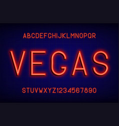 neon glowing font alphabet with english letters vector image