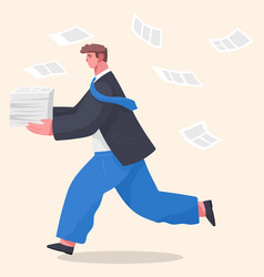 office worker holding stack documents running vector image