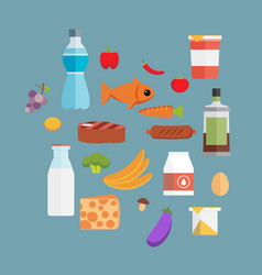 Online supermarket foods flat concept of grocery vector