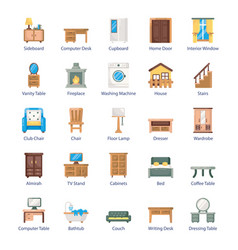 Pack furniture flat icons vector
