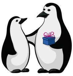 penguins with a gift box vector image