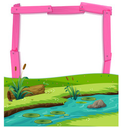 Pink wooden frame and river landscape vector