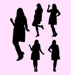 plus size model gesture silhouette 01 vector image