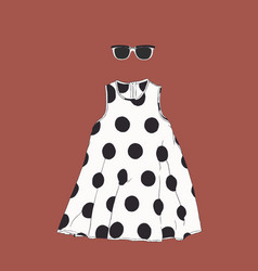 polka dot dress with sun glasses sketch vector image