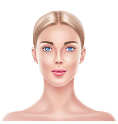 Realistic blonde woman model beauty face vector