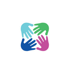 round hand symbol logo vector image