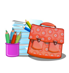 School backpack notebooks and pencils isolated vector