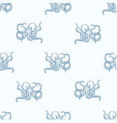 seamless pattern with octopus hand drawn with vector image