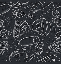seamless patterns with chick fish salami vector image