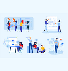 set business people concepts vector image