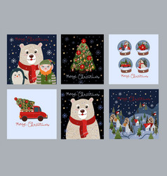 set christmas cards with simple cute vector image