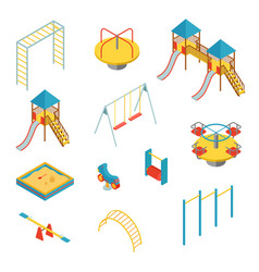 set isometric elements for kid playground vector image