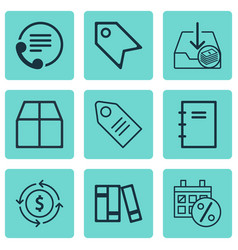 set of 9 commerce icons includes withdraw money vector image