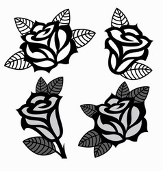 Set of black and white images of roses vector
