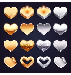 Set of Golden and Silver Hearts vector