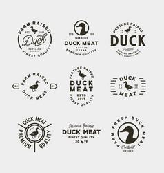 Set premium fresh duck meat labels vector