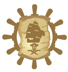 Ship helm and parchmen vector