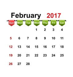 Simple calendar 2017 year february month vector