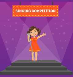 Singing competition banner template girl vector