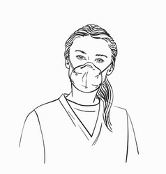 sketch woman wearing medical face mask hand vector image