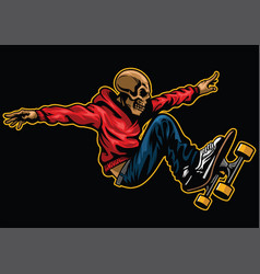 Skull riding skateboard vector
