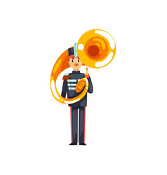 Soldier playing tuba member of army military band vector