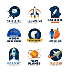 Space logo emblems set vector