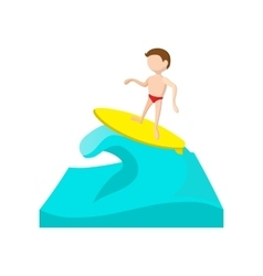 Surfing cartoon icon vector image