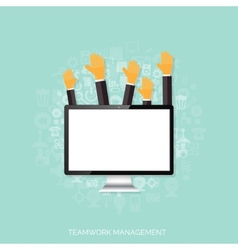 Teamwork management concept Flat icons Global vector image