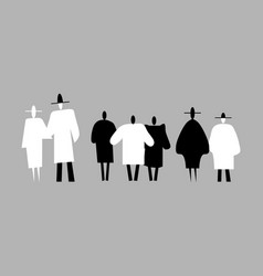 three groups of black and white people silhouettes vector image
