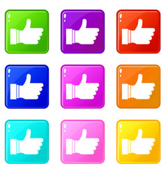 Thumb up sign set 9 vector