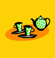 time for tea graphic drawing tea set vector image