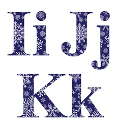 Uppercase and lowercase letters I J and K vector