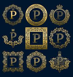 vintage monograms set of p letter vector image