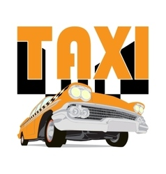 Vintage taxi car cartoon sketch vector image