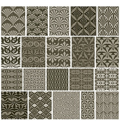 Vintage tiles seamless patterns 20 monochrome vector
