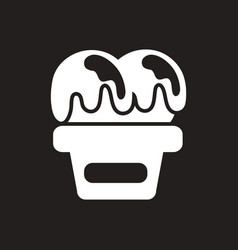 White icon on black background ice cream vector