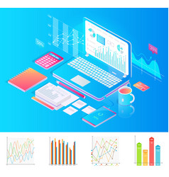 workplace with laptop with charts and extra stuff vector image