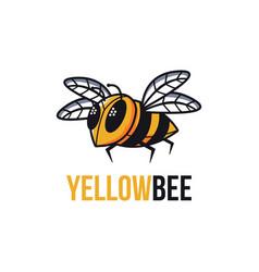 Yellow bee mascot cartoon logo template vector