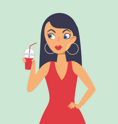 young girl drinking smoothie vector image