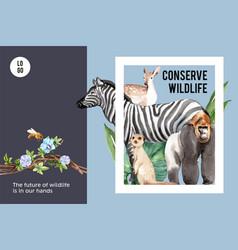 Zoo frame design with zebra meerkat gorilla vector