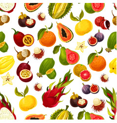 exotic fresh fruits seamless pattern vector image vector image