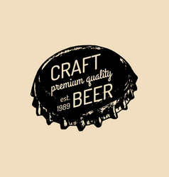 Kraft beer bottle cap logo old brewery icon vector