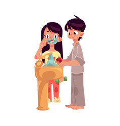 little boy and girl in pajamas washing hands vector image